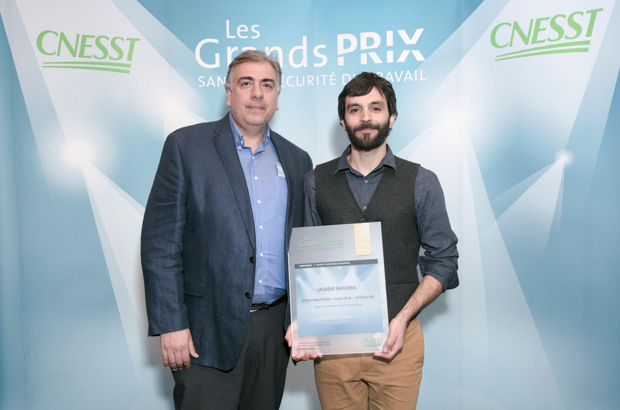 Moules Industriels ( M.I. Intégration) couronné Lauréat OR au Gala national des Grands Prix Santé et Sécurité du travail